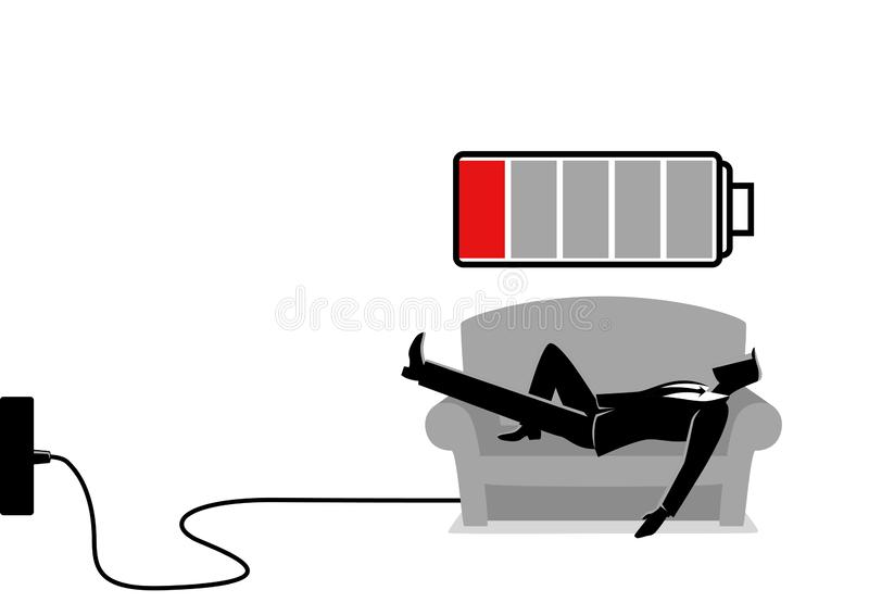Recharging Businessman. Business illustration of a businessman taking a nap on sofa. Laying, relaxing, recharge, resting concept vector illustration