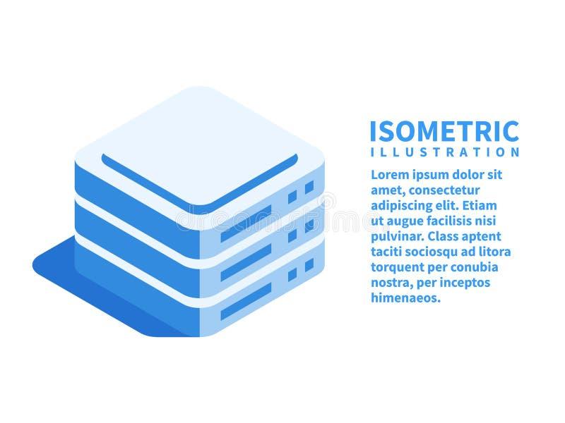 Rechenzentrum, Serverraum, Datenspeicherungsikone Isometrische Schablone für Webdesign in der flachen Art 3D Auch im corel abgeho stock abbildung