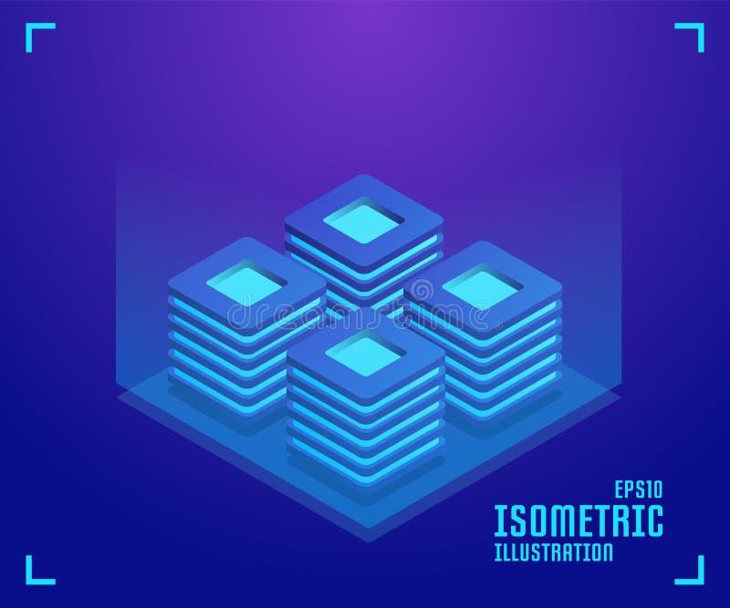 Rechenzentrum, Serverraum, Datenspeicherungsillustration Isometrische Schablone für Webdesign in der flachen Art 3D Auch im corel vektor abbildung