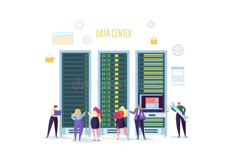 Rechenzentrum-Technologie-Konzept Flache Leute-Charakter-Ingenieure, die im Netzwerk-Server-Raum arbeiten Web-Hosting lizenzfreie abbildung