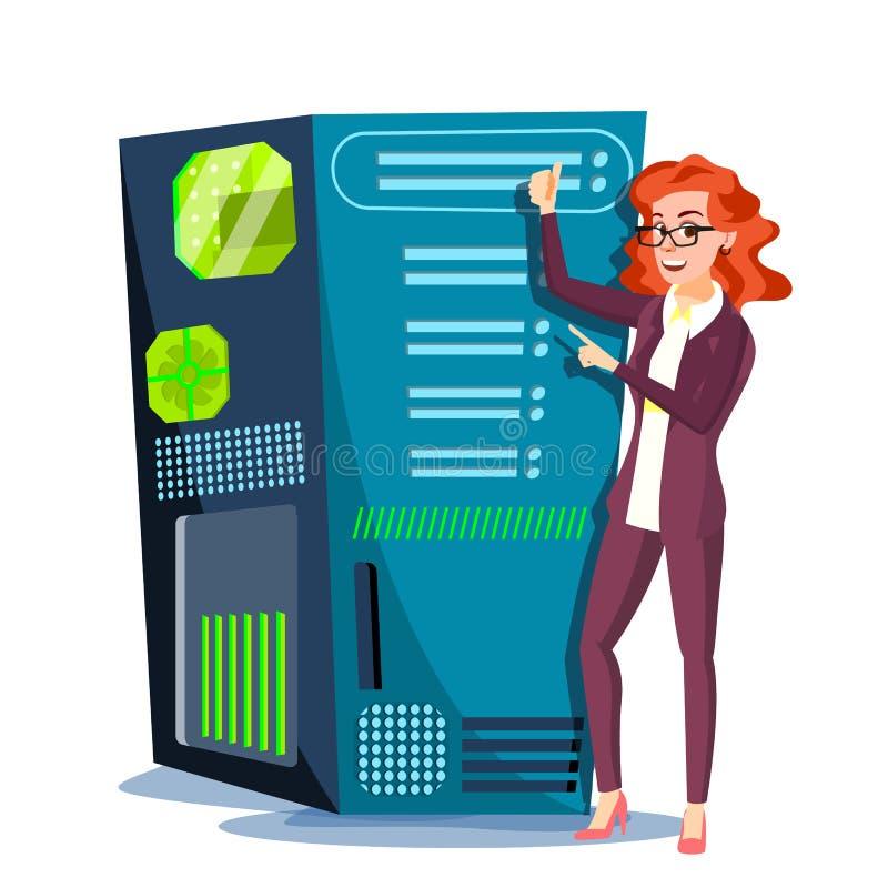 Rechenzentrum-Vektor Hosting-Server und Frau Speicherwolke Netz-und Datenbank-Unterstützung Lokalisierte flache Karikatur vektor abbildung