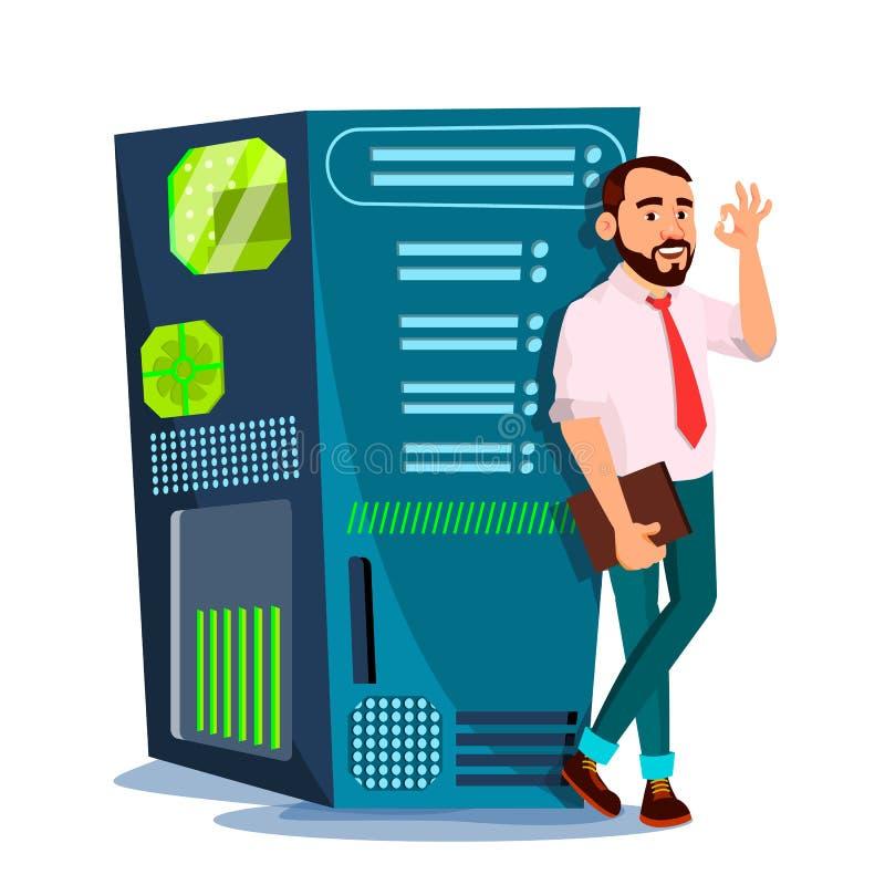 Rechenzentrum-Vektor Hosting-Server und Mann Speicherwolke Netz und Datenbank Lokalisierte flache Karikaturillustration lizenzfreie abbildung
