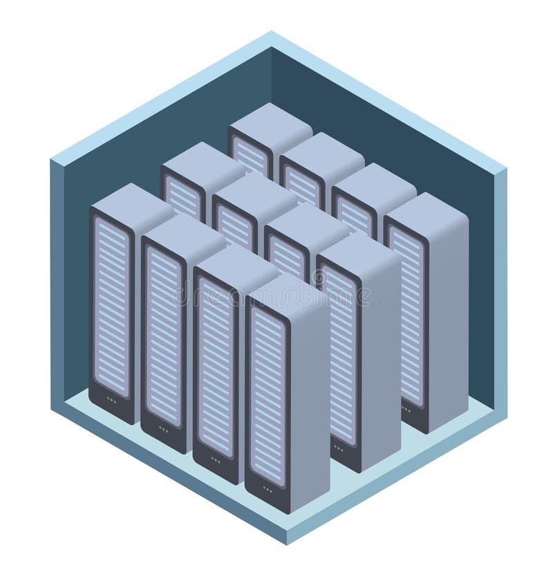 Rechenzentrumikone, Serverraum Vector Illustration in der isometrischen Projektion, lokalisiert auf Weiß lizenzfreie abbildung