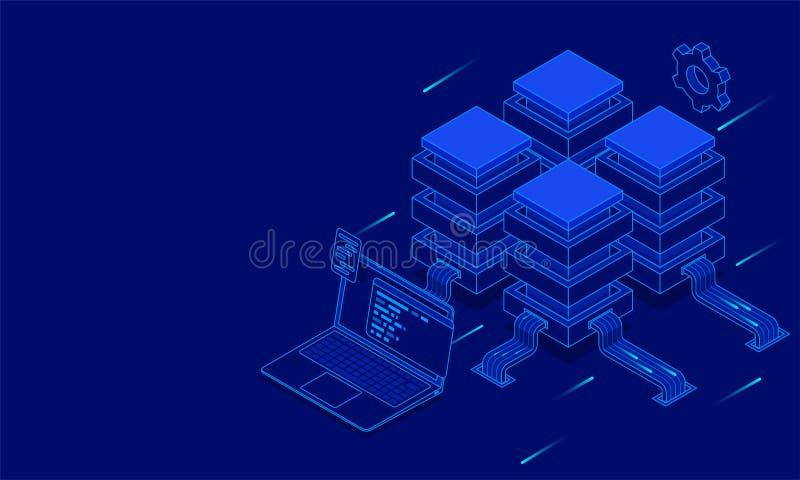 Rechenzentrumkonzept, isometrische lokale Server angeschlossen an Laptop stock abbildung