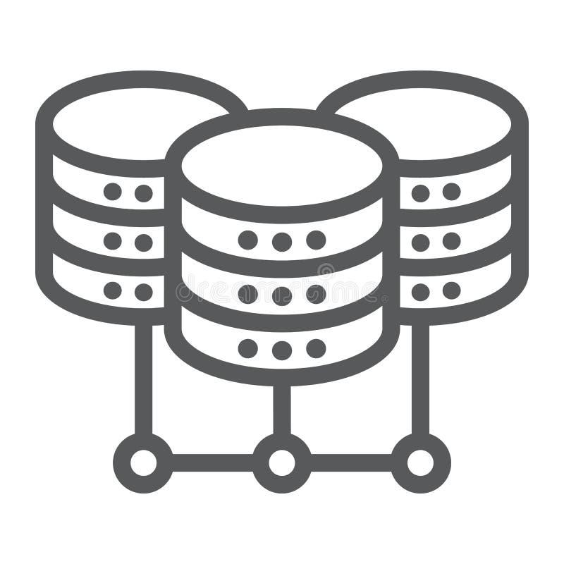 Rechenzentrumlinie Ikone, Daten und Analytik lizenzfreie abbildung