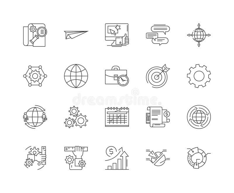 Rechenzentrumlinie Ikonen, Zeichen, Vektorsatz, Entwurfsillustrationskonzept lizenzfreie abbildung