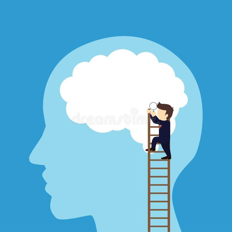 Recherche d'homme d'affaires le cerveau illustration libre de droits