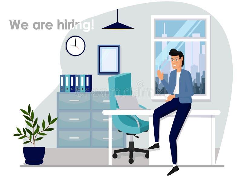 Recherche d'ic?ne de vecteur de candidats Recherche d'une illustration de concept de travail Homme au bureau louant le style réal illustration de vecteur
