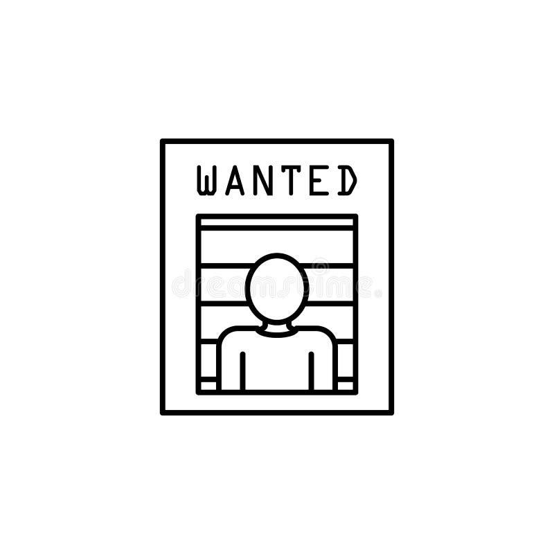 recherche d'une icône criminelle Élément d'icône de crime et de punition pour les apps mobiles de concept et de Web Ligne mince r illustration de vecteur