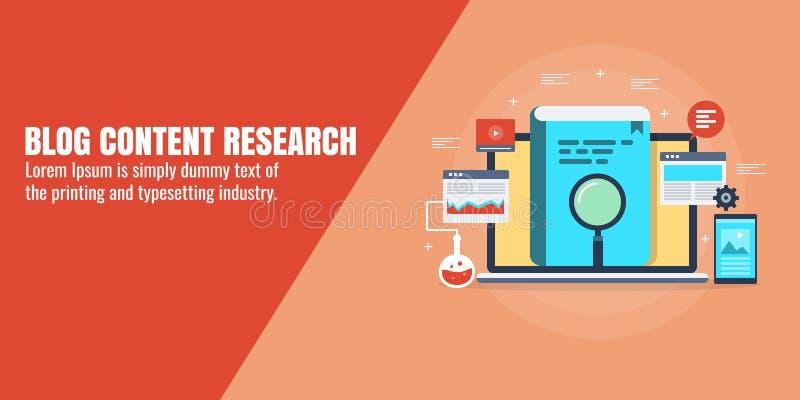 Recherche de blog, données et analyse satisfaites de l'information pour l'écriture de blog, publication Production et vente du co illustration libre de droits