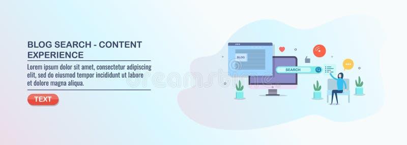 Recherche de blog, une expérience satisfaite, optimisation de seo, vente numérique de médias illustration de vecteur