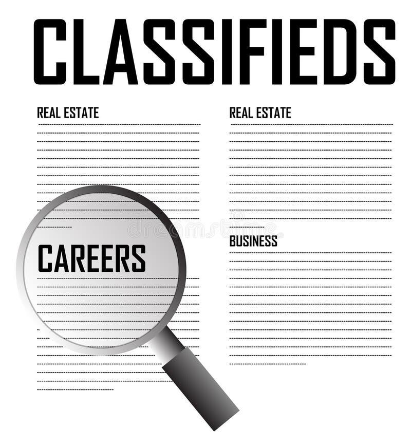 Recherche de carrières de Classifieds illustration de vecteur
