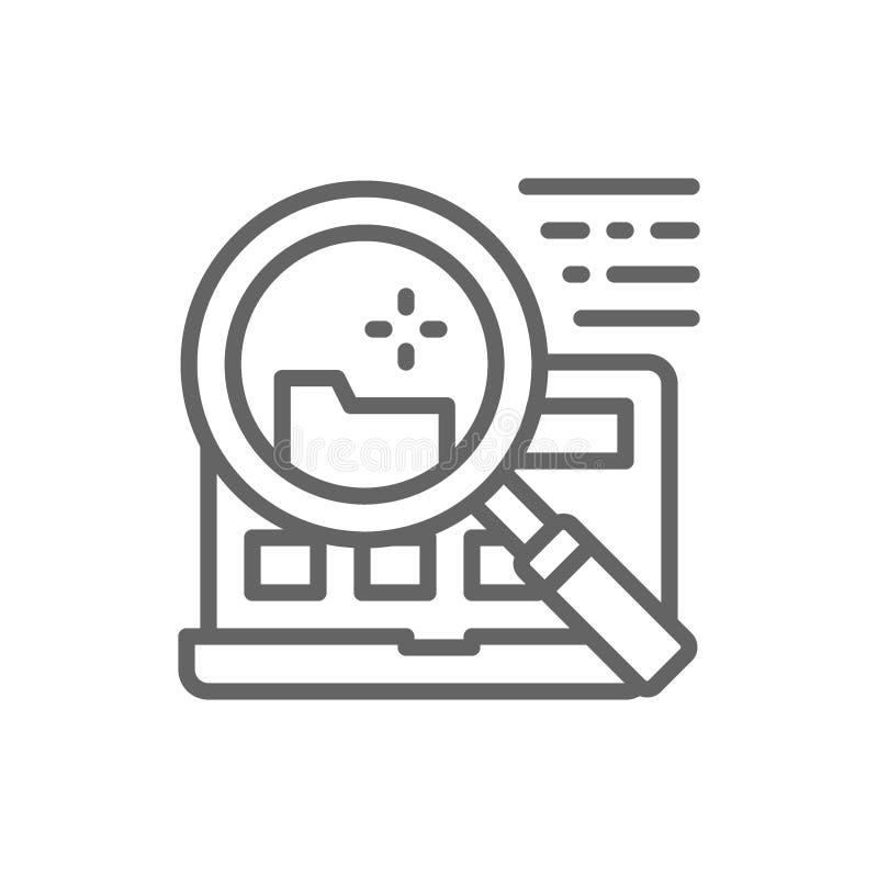 Recherche de dossier dans la ligne ic?ne d'ordinateur portable illustration stock