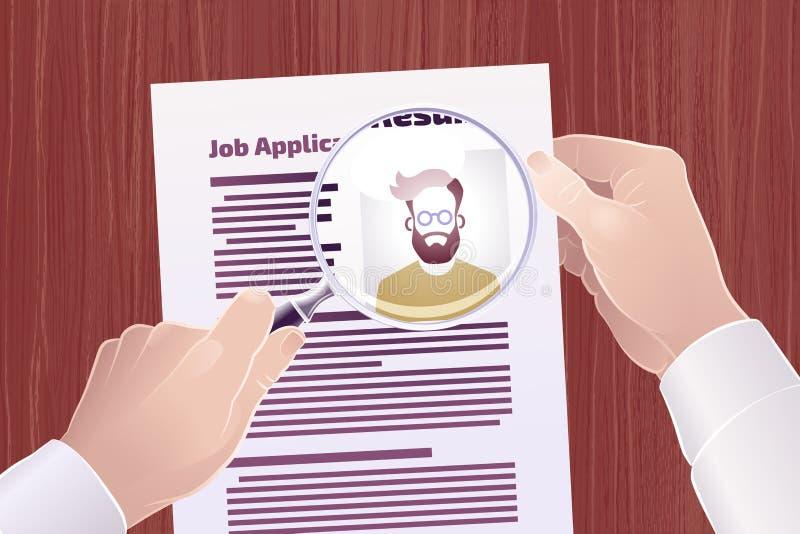 Recherche de Job Application /Resume illustration stock