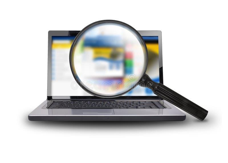 Recherche de l'Internet sur l'ordinateur portable illustration de vecteur