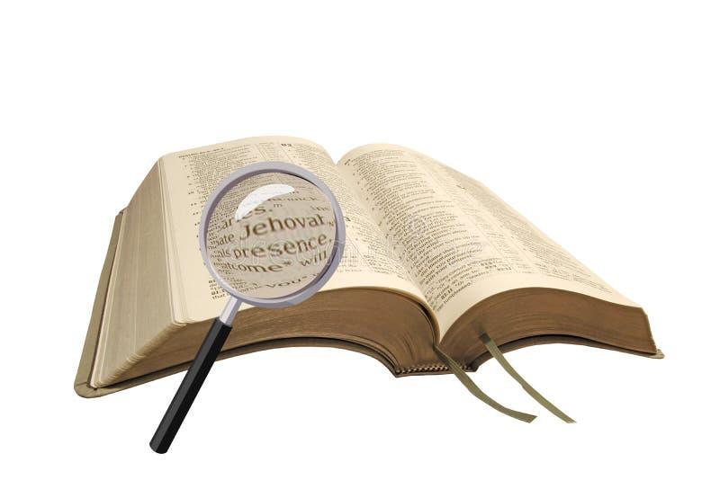 Recherche de la bible image libre de droits