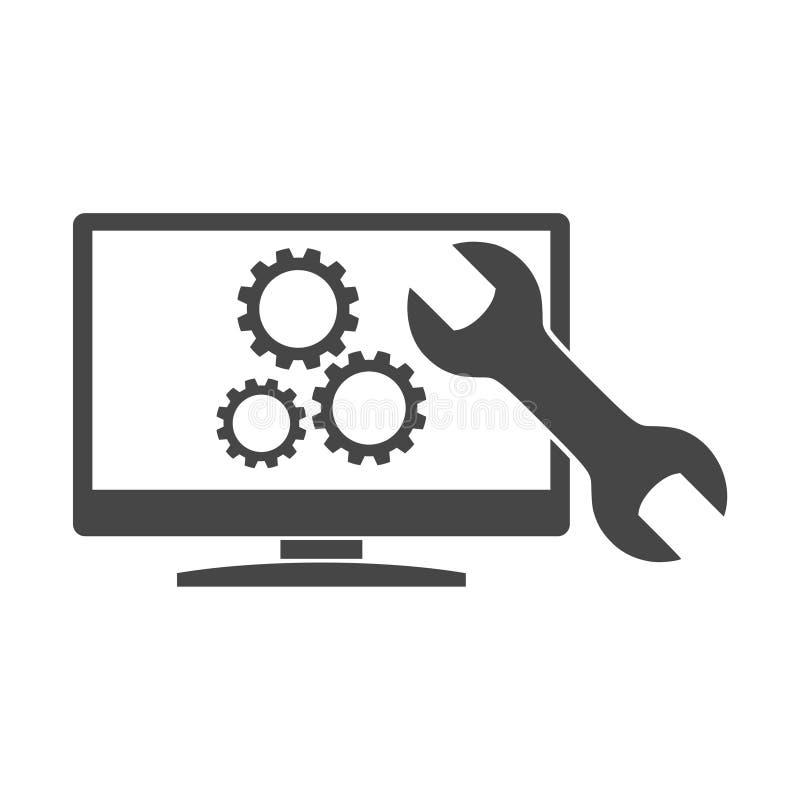 Recherche de la conception d'optimisation de moteur, icône de Seo illustration stock