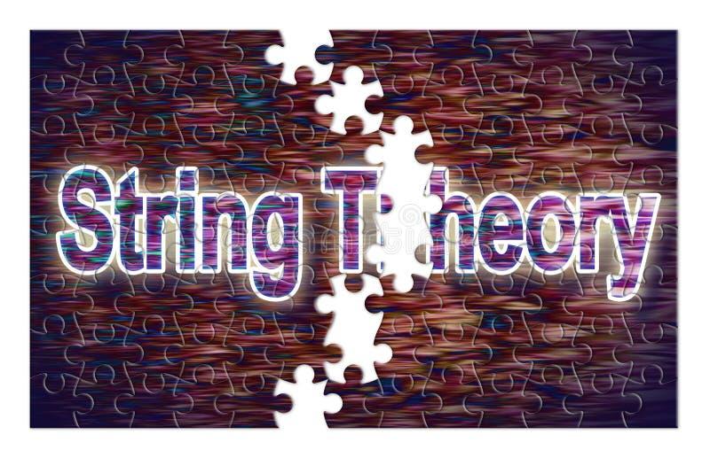 Recherche de la solution de la théorie de ficelle - image de concept dans la forme de puzzle denteux photos stock