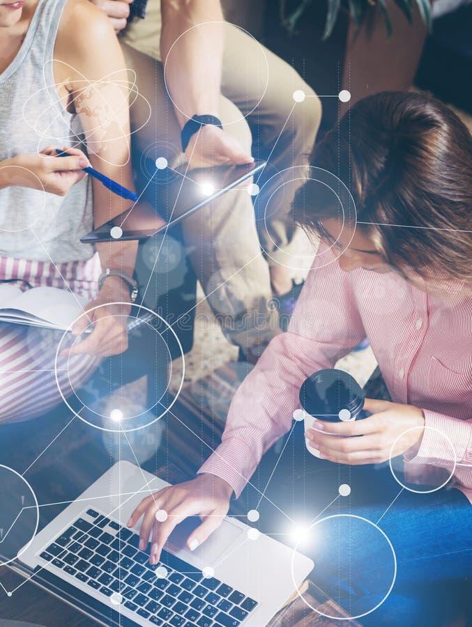 Recherche de marché virtuelle de diagramme d'interface de graphique d'icône de connexion globale de stratégie Collègues rencontra images libres de droits