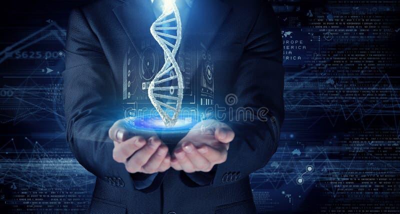 Recherche de molécule d'ADN Media mélangé photographie stock