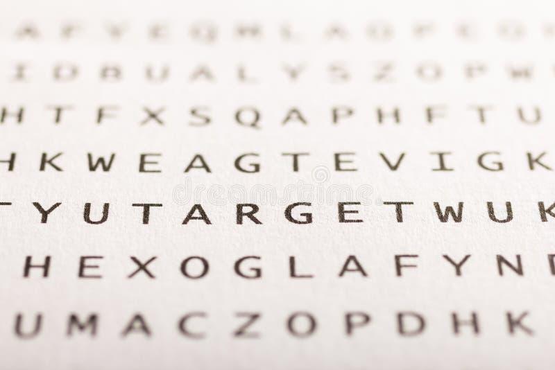 Recherche de Word, puzzle Concept au sujet de la conclusion, cible image libre de droits