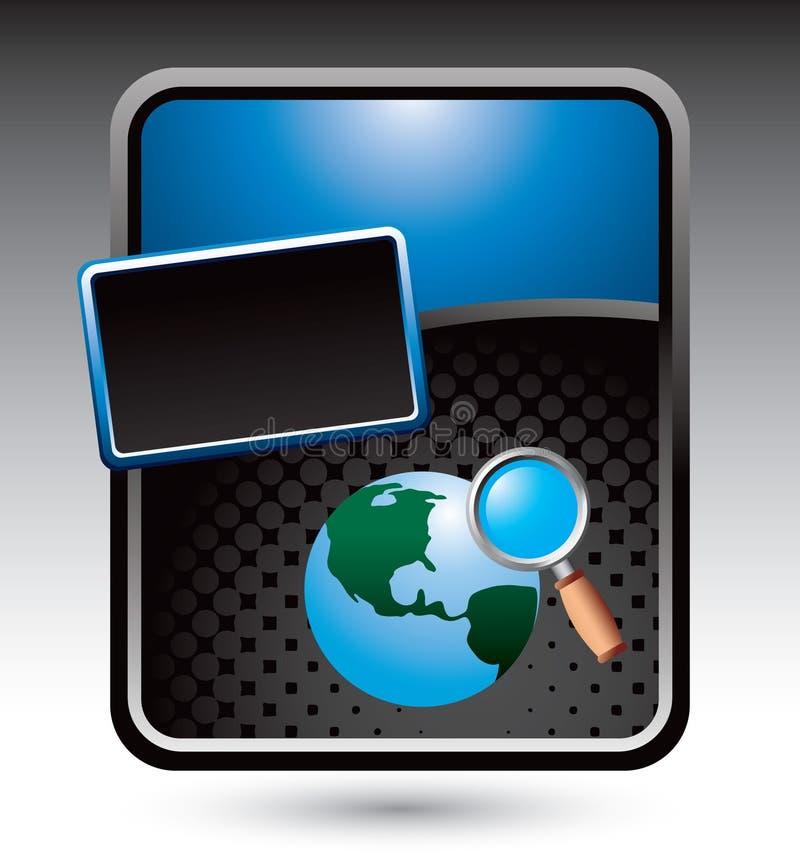 Recherche de World Wide Web sur le drapeau stylisé bleu illustration libre de droits