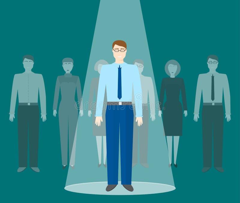 Recherche des employés doués Concept d'affaires de recrutement Le demandeur pour la position se tient dans le faisceau du project illustration stock