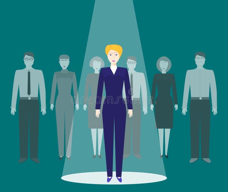 Recherche des employés doués Recrutement ou recruter des cadres le concept d'affaires Le demandeur pour la position se tient dans illustration de vecteur