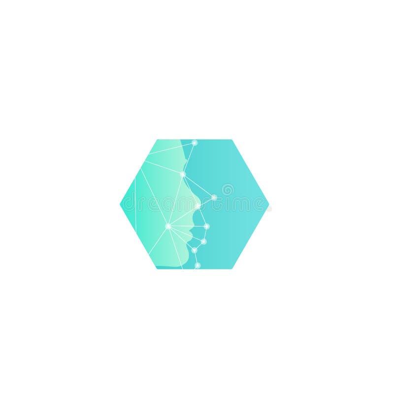 Recherche des imitateurs humains, nouvelles technologies du futur calibre abstrait de logo de vecteur Balayage de visage avec la  illustration stock