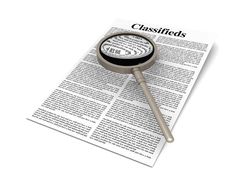 Recherche du Classifieds illustration stock