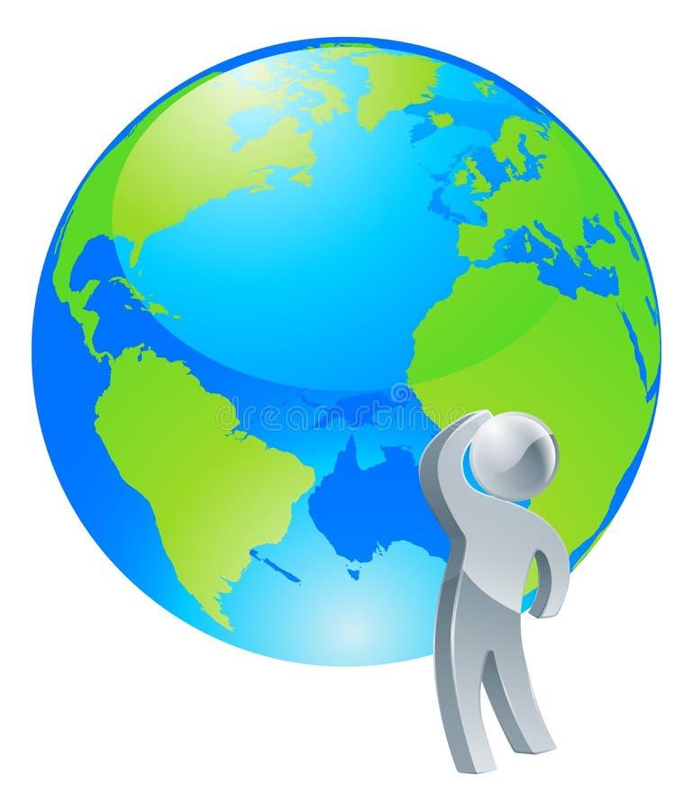 Recherche du concept argenté de personne de globe illustration libre de droits
