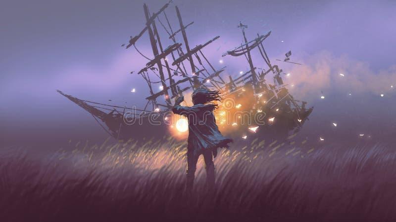 Recherche du naufrage avec la lanterne magique illustration stock