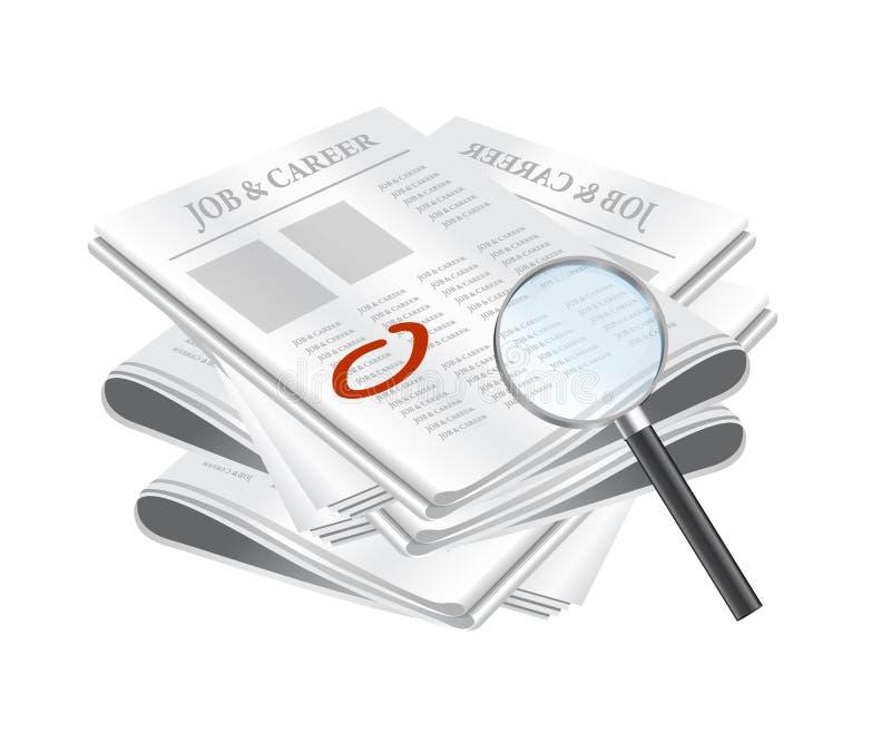 Recherche du travail sur les annonces classifiées illustration libre de droits