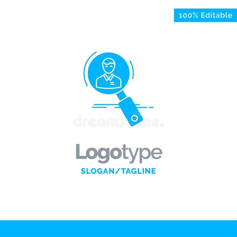Recherche, employé, heure, chasse, personnelle, ressources, résumé Logo Template solide bleu Endroit pour le Tagline illustration de vecteur