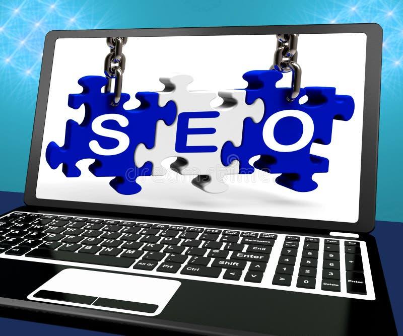 Recherche en ligne de SEO Puzzle On Laptop Shows illustration stock