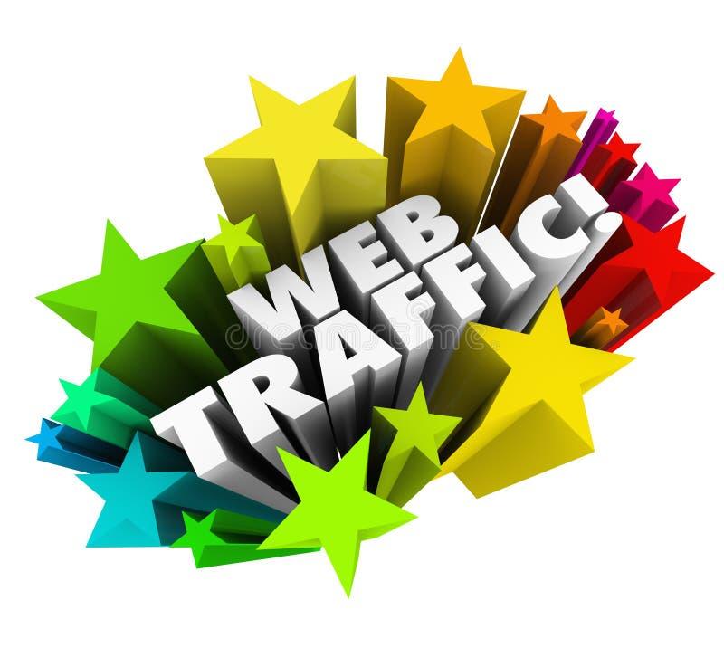 Recherche en ligne Reputa de vues d'augmentation de fond d'étoiles du trafic de Web illustration stock