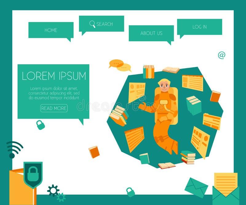 Recherche et analyse de concept de l'information au calibre de page Web illustration de vecteur