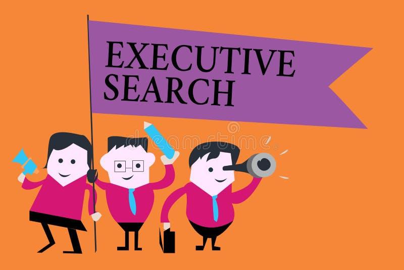 Recherche exécutive des textes d'écriture de Word Le concept d'affaires pour des entreprises de services de recrutement payent po illustration stock