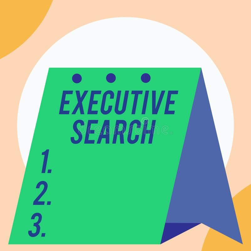 Recherche exécutive des textes d'écriture Le concept signifiant des entreprises de services de recrutement payent pour chercher d illustration de vecteur