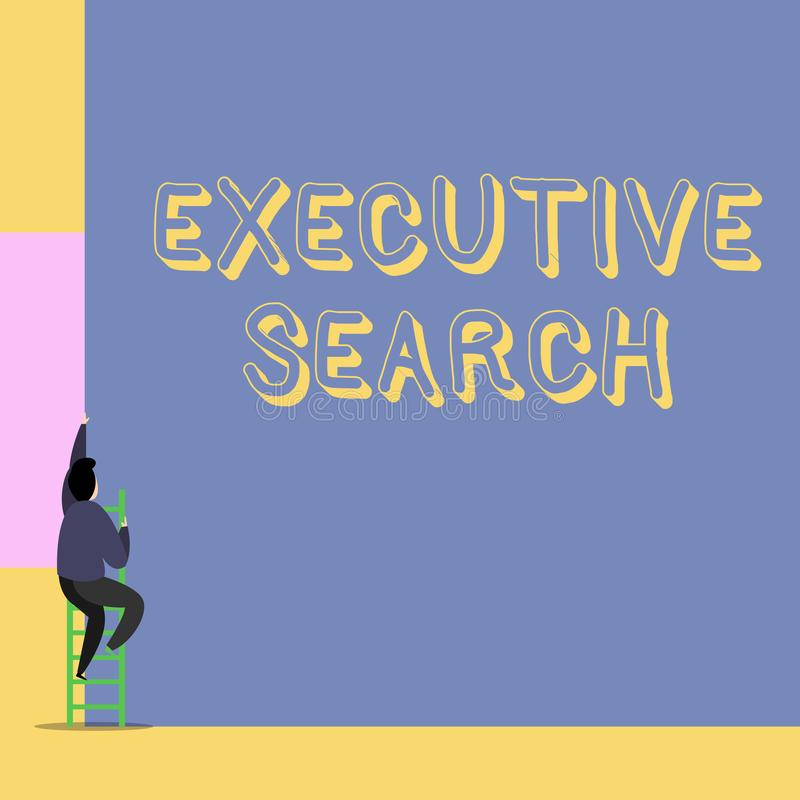 Recherche ex?cutive des textes d'?criture de Word Le concept d'affaires pour des entreprises de services de recrutement payent po illustration de vecteur