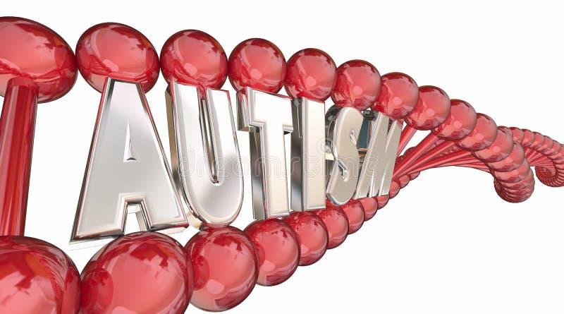 Recherche génétique Word de cause d'ADN d'autisme illustration stock