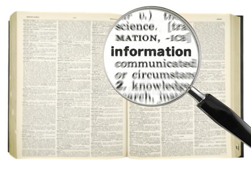 Recherche l'INFORMATION photographie stock