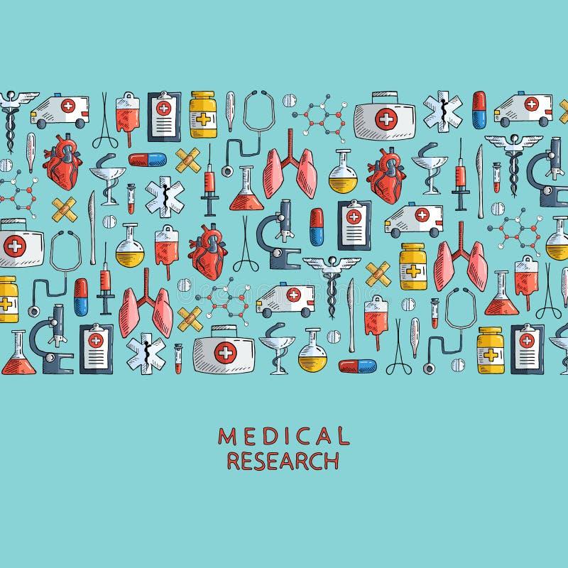 Recherche médicale Icônes tirées par la main de soins de santé et de médecine illustration stock