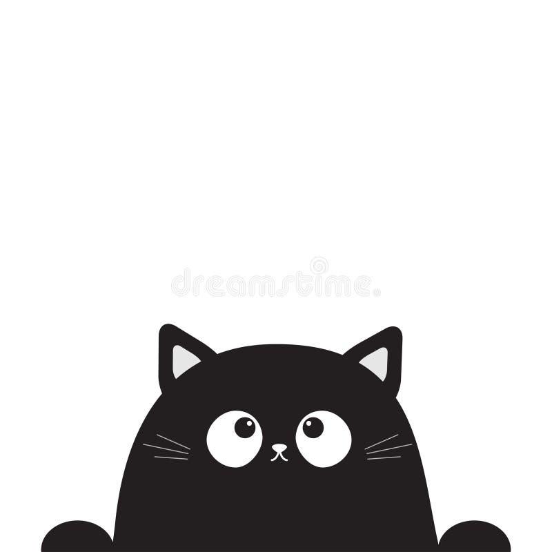 Recherche principale se reposante mignonne noire de visage de chaton de chat Paw Print Caractère drôle de minou de bande dessinée illustration de vecteur