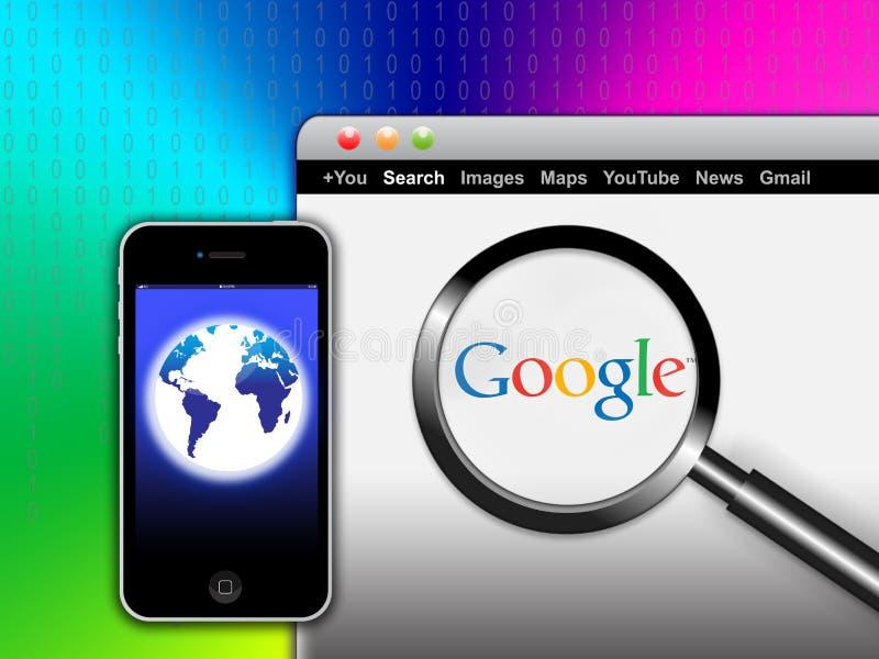 Recherchegoogle-Netz von Ihrem Mobile lizenzfreie abbildung
