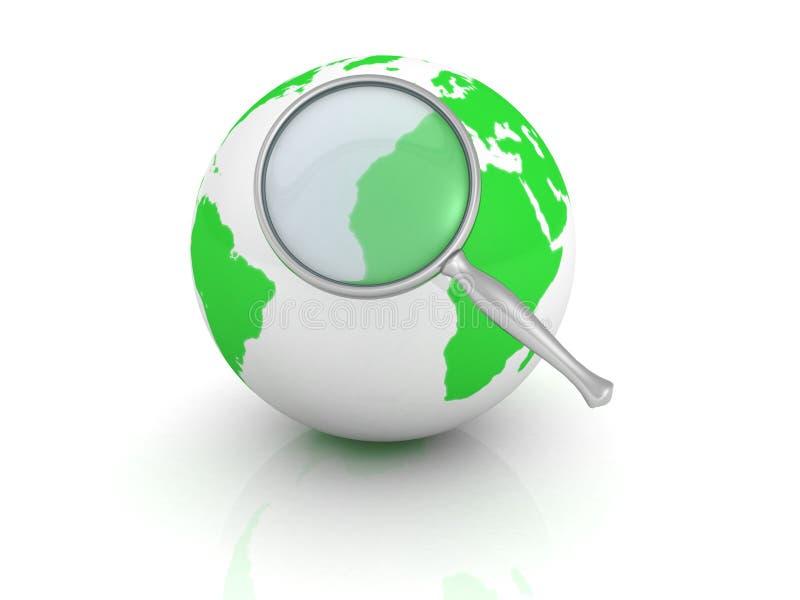 Recherchekonzept. Erdekugel mit vergrößern Glas stock abbildung