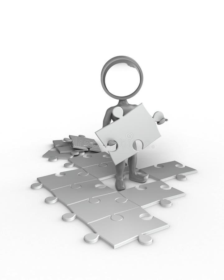 Rechercher-Homme - puzzle illustration libre de droits