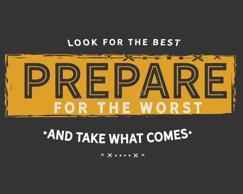 Recherchez le meilleur pour se préparer au plus mauvais et pour prendre ce qui vient illustration stock