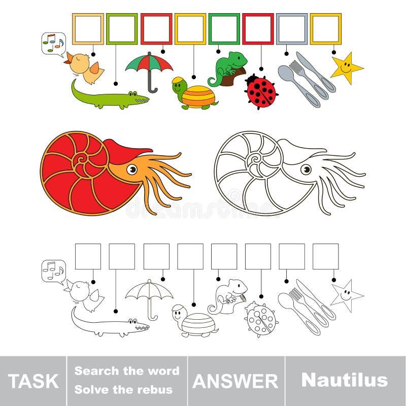 Recherchez le mot caché, le jeu éducatif simple d'enfant illustration de vecteur
