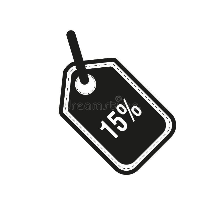 Rechnen Sie fünfzehn-15 Prozent-Kreisikonenvektorillustration ab lizenzfreie abbildung